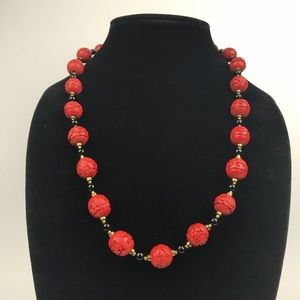 Chinese Floral Cinnabar Onyx Bears Hook Necklace